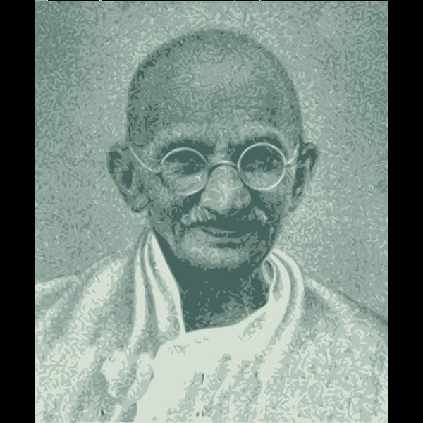 Vector drawing of portrait of Mahatma Gandhi