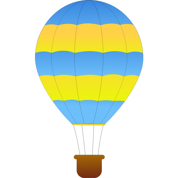 Horizontal green and blue stripes hot air balloon vector drawing