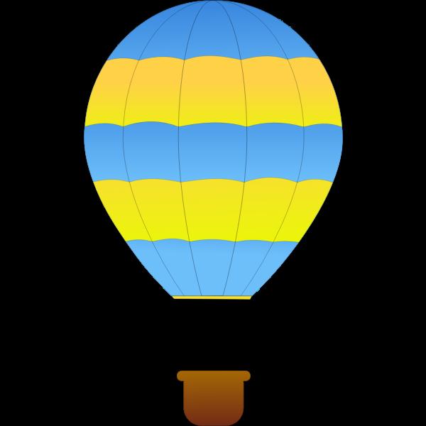 Horizontal green and blue stripes hot air balloon vector drawing