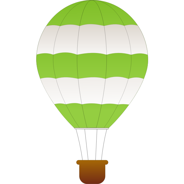Horizontal green and white stripes hot air balloon vector clip art