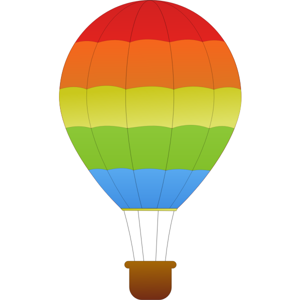 Horizontal green,red and blue stripes hot air balloon vector graphics
