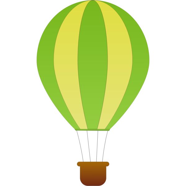 Vertical green and yellow stripes hot air balloon vector drawing