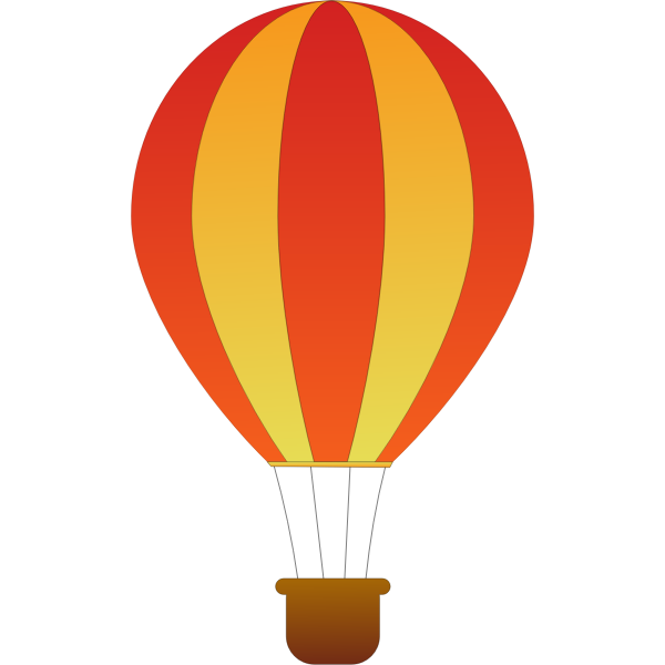 Vertical red and yellow stripes hot air balloon vector illustration