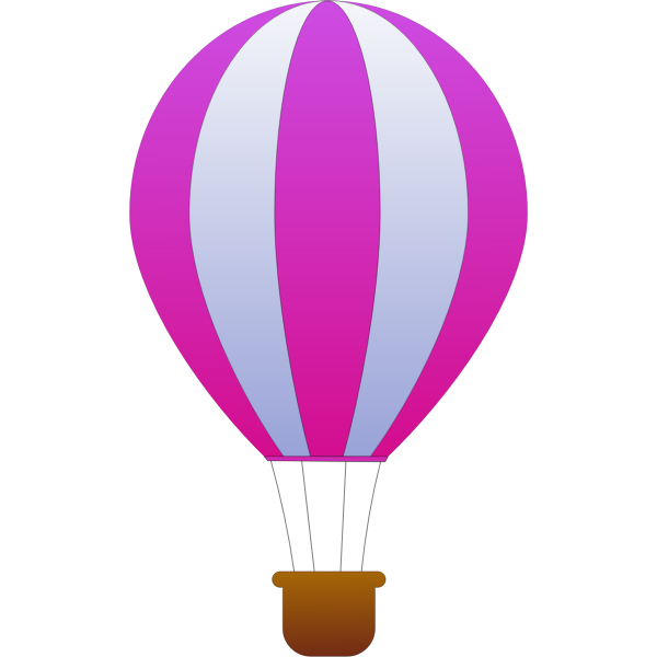 Vertical pink and gray stripes hot air balloon vector image