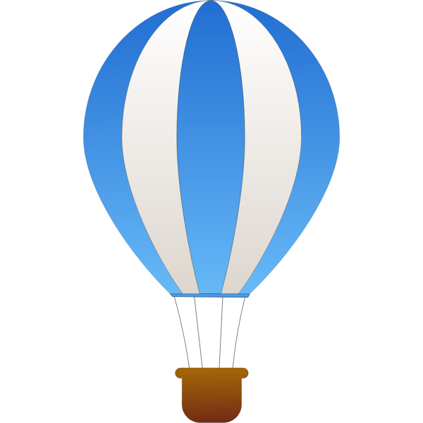 Vertical blue and gray stripes hot air balloon vector graphics