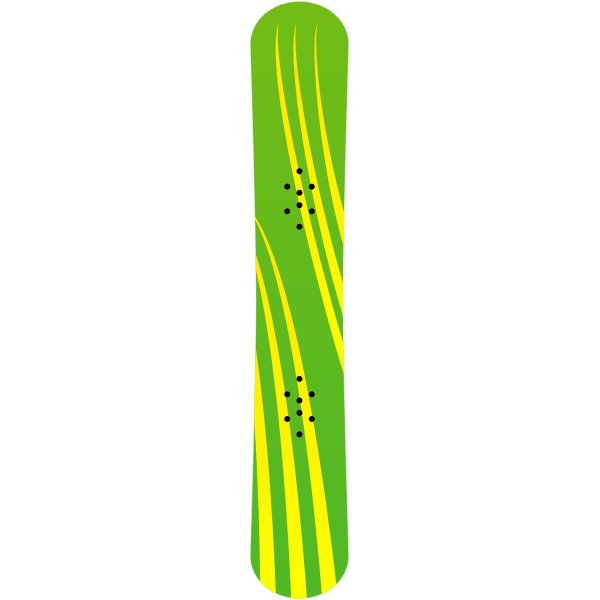 Green and yellow snowboard vector clip art