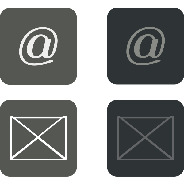 Vector illustration of set of grayscale e-mail buttons