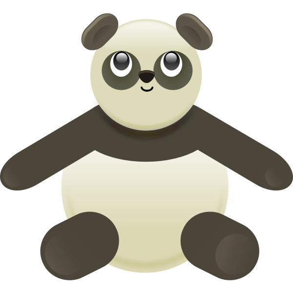 Vector image of toy black and grey panda