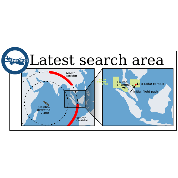 Vector image of infographic map of the search for the missing Malaysian plane