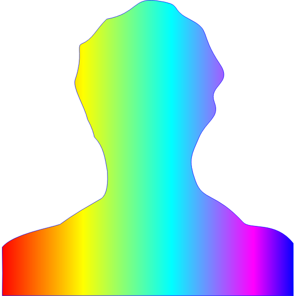 Male silhouette rainbow colors