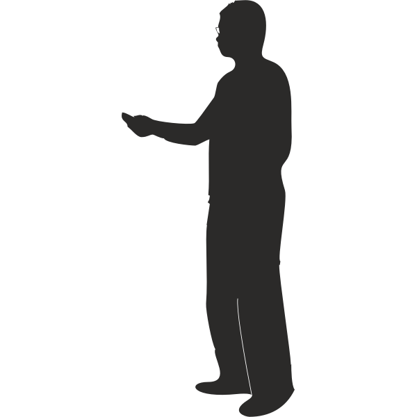 Silhouette vector illustration of man presenting