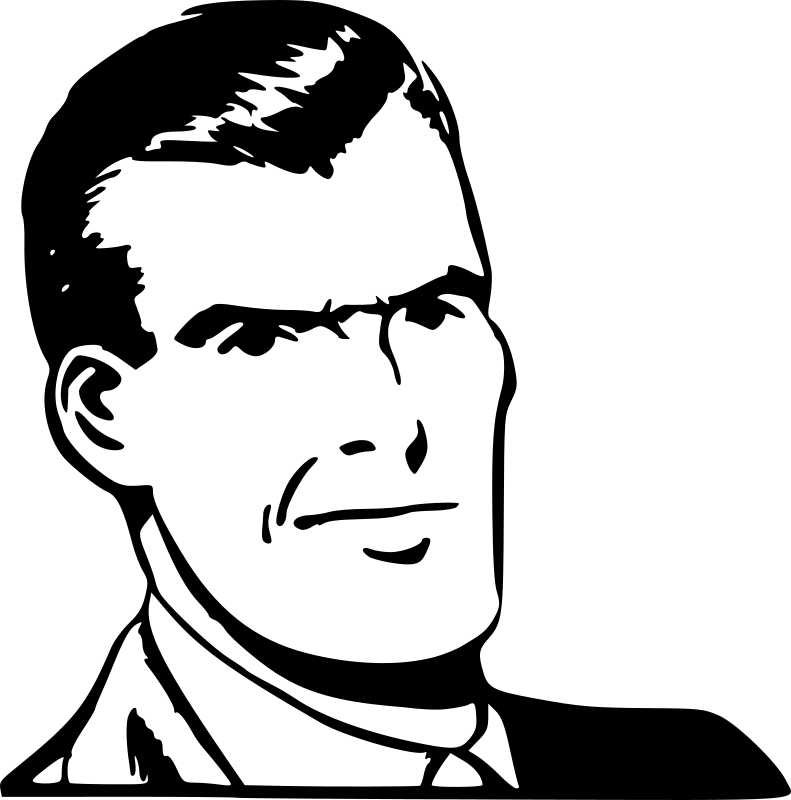 Vector graphics of mustachioed man in suit