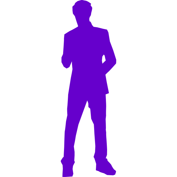 Man in suit purple silhouette vector clip art