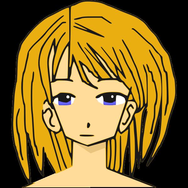 Blonde manga girl vector illustration