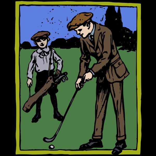 man golfing colour