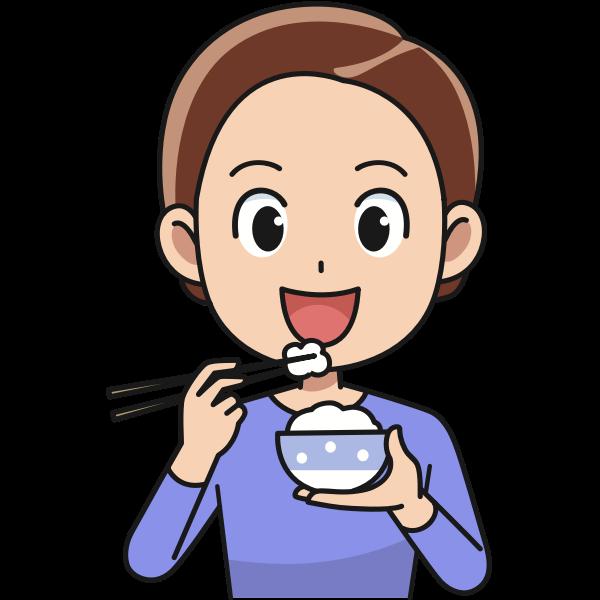 Man eating rice