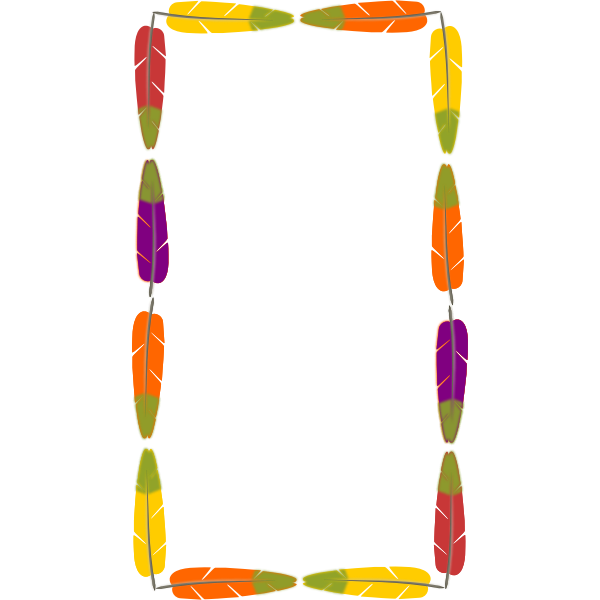 Drawing of frame made out of colorful bird feathers