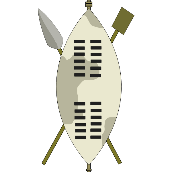 Vector image of arms of Zulu warrior