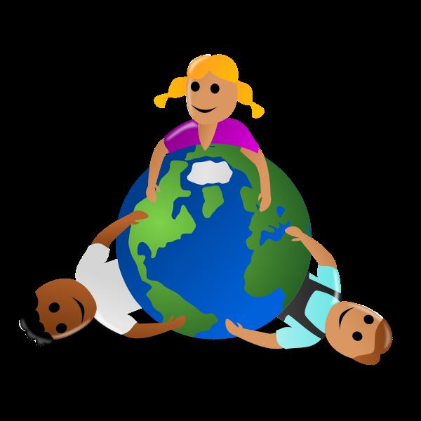 Kids around the globe colorful image