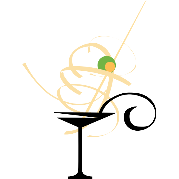 Vector image of cocktail glass used for Martini with olive