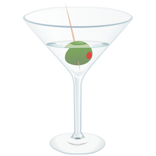 Glass of Martini cocktail vector graphics