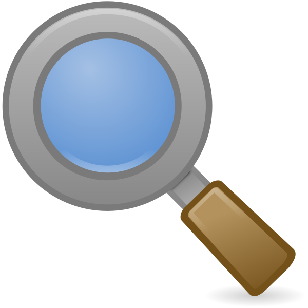 Vector image of system search icon with brown handle