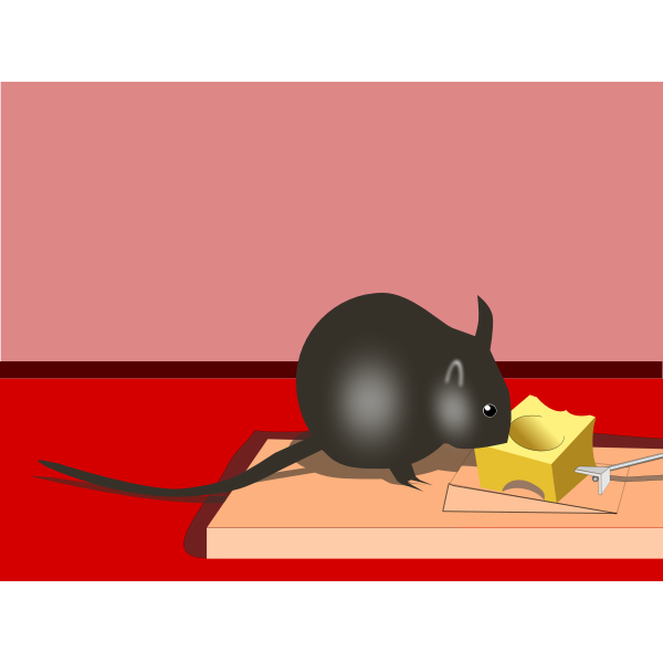 Cheese trap with a mouse