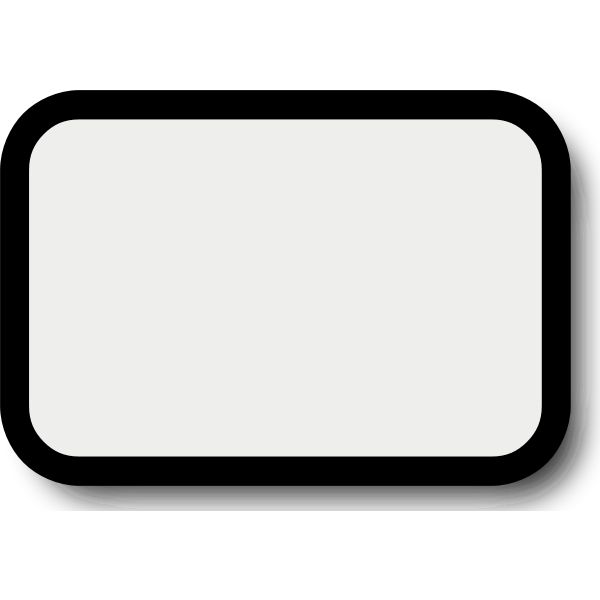 Rectangular white button with thick black frame vector graphics