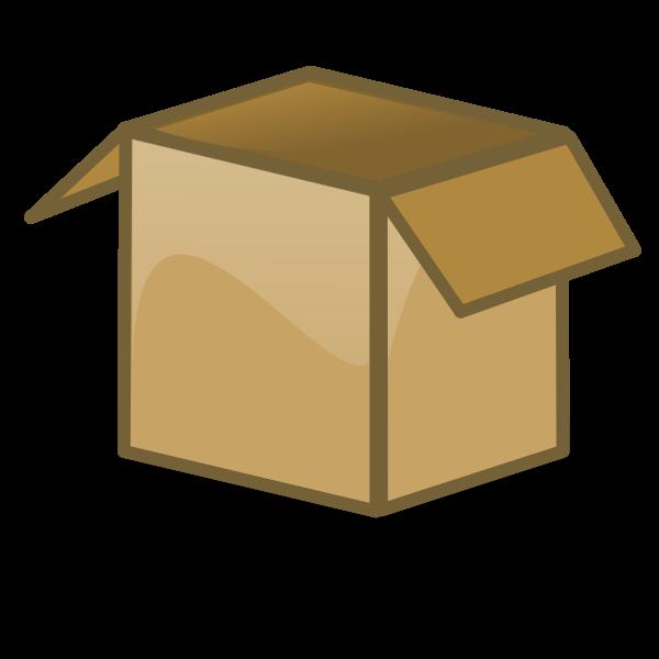 Vector drawing of open brown cardboard box