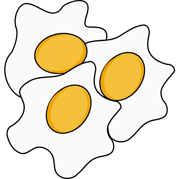 Vector image of three eggs sunny side up