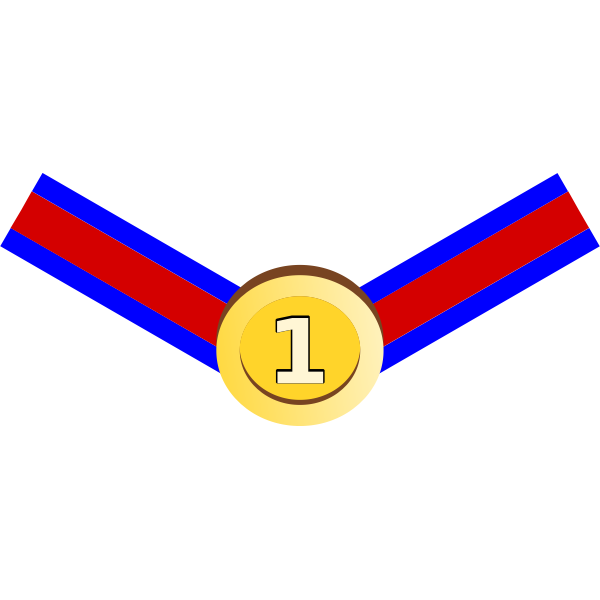 Vector image of gold medal with red and blue ribbon