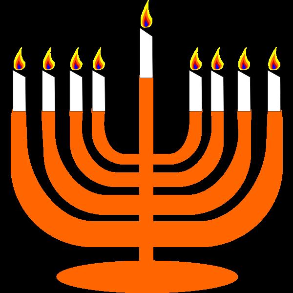 Vector image of Menorah with Shamash