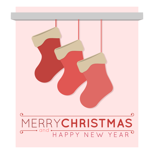 Vector image of three Christmas stockings on a greeting card