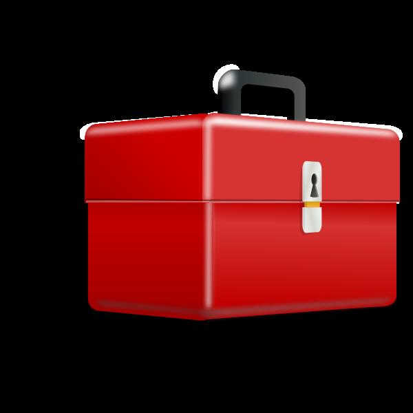 Vector clip art of 3D red metallic toolbox