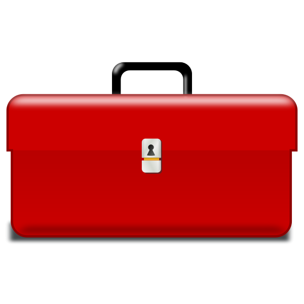 Vector drawing of red metallic toolbox
