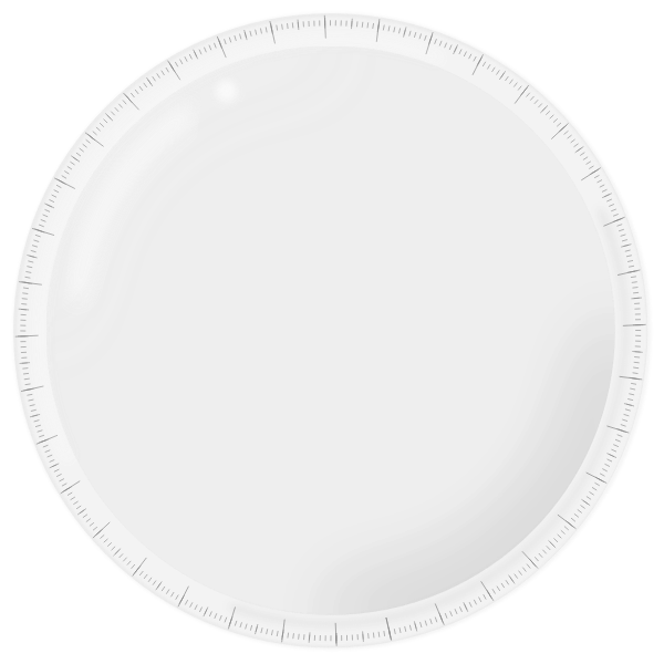 Round plastic ruler vector drawing