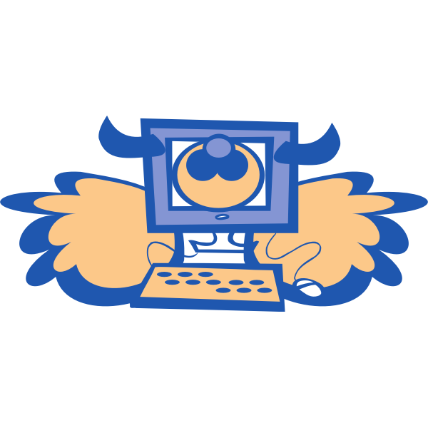 Cow computer with wings vector drawing