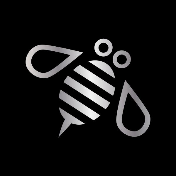 minimal bumble bee for ocal silver black circle