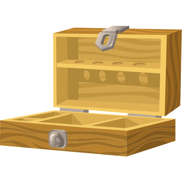 Opened wooden box