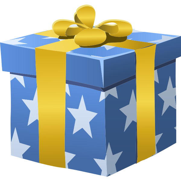 Vector image of blue gift wrapped box