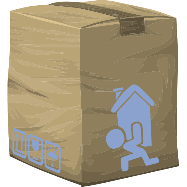 Vector graphics of closed and taped paper box