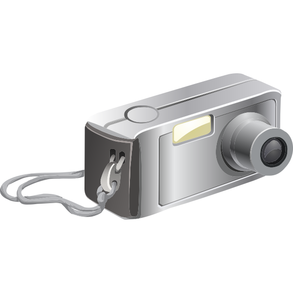 Vector clip art of old digital camera with carrying strap