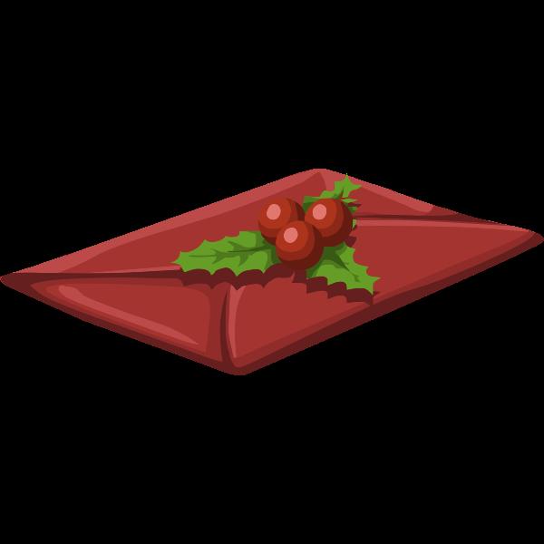 Envelope with mistletoe vector clip art
