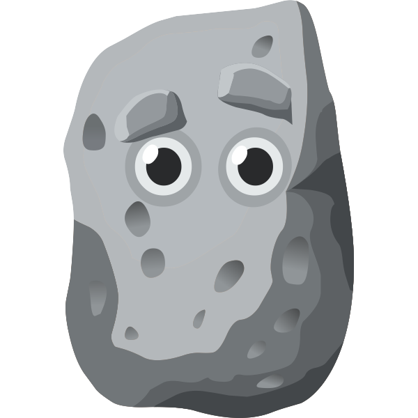 Vector clip art of rock with human eyes