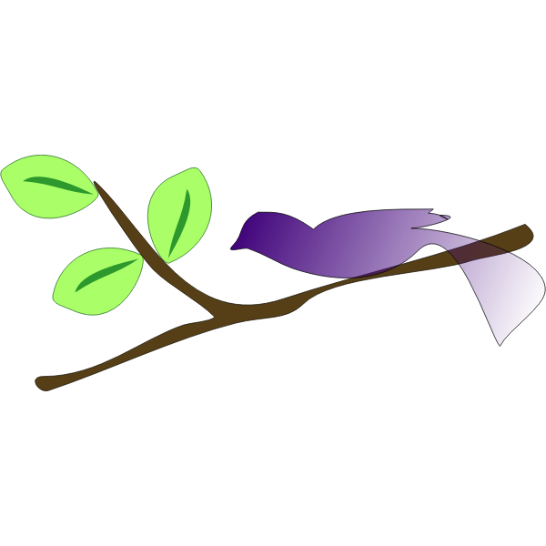Vector illustration of gradient blue bird on a branch
