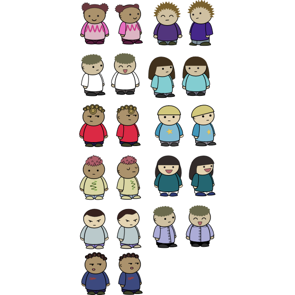 Vector illustration of mix and match character set