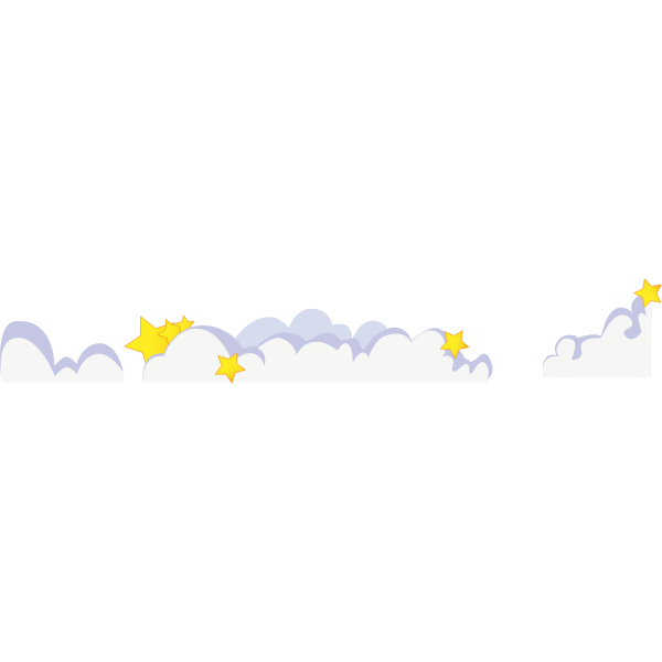 Cute cartoon clouds with stars