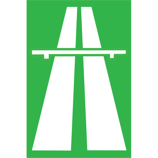 Vector drawing of entrance to highway section roadsign
