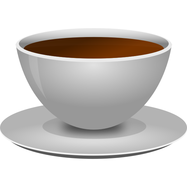 Vector image of photorealistic coffee cup with a saucer