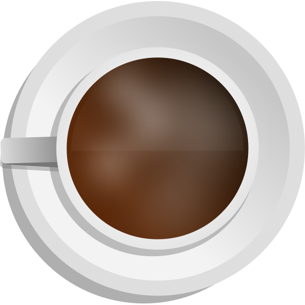 Vector illustration of photorealistic coffee cup with top view